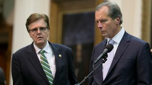Lt. Gov. David Dewhurst and Sen. Dan Patrick in the Senate chamber as political drama unfolds at the Texas Capitol in the last hour of the 83rd Texas Legislature's first special session.