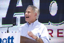 Attorney General Greg Abbott announces his bid for Texas governor at a San Antonio rally on July 14, 2013.