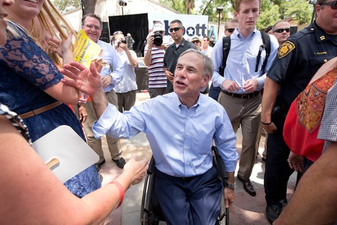Greg Abbott on the road immediately following his announcement that he will run for Governor of Texas