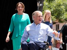Texas Attorney General Greg Abbott on stage with his wife Cecilia and daughter Audrey moments before announcing his gubernatorial campaign, Jul, 15, 2013.