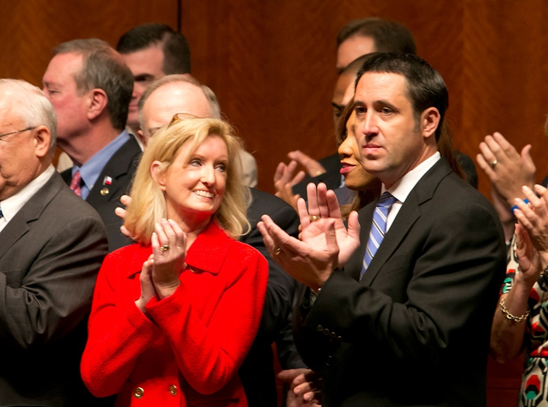 State Rep. Jodie Laubenberg, R-Parker, and state Sen. Glenn Hegar, R-Katy, at the signing of House Bill 2 on July 18, 2013.