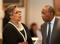 Rep. Senfronia Thompson  D-Houston speaks with Rep. Sylvester Turner D-Houston on May 23rd, 2011