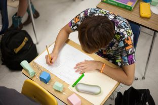 A student works on math problems in Keith Marquez's summer school geometry class at McAllum High School in Austin, Texas, Jul. 31, 2013.