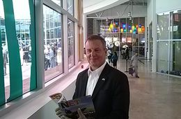 U.S. Consul General in Ciudad Juárez, Ian Brownlee, at the ribbon-cutting ceremony for La Rodadora: Espacio Interactivo museum.