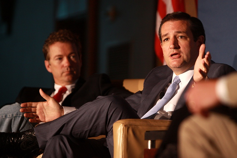 U.S. Sens. Rand Paul and Ted Cruz speaking at the 2013 Young Americans for Liberty National Convention at George Mason University in Arlington, Va.