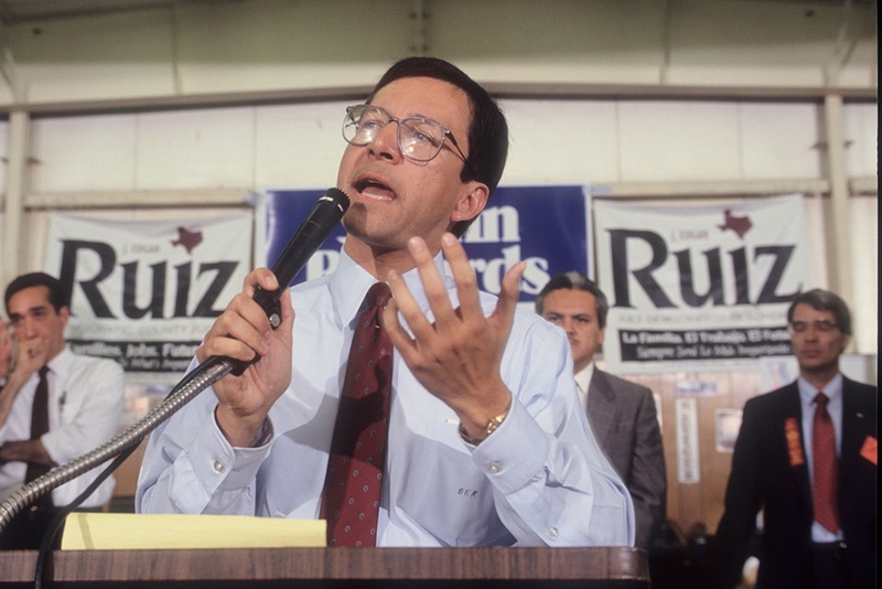 Former Texas State Representative and Texas Attorney General Dan Morales in his office and at the Texas Capitol, circa 1994-1996.