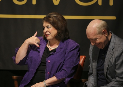 Texas Sen. Leticia Van de Putte, D-San Antonio, gestures during a dicsussion of her future plans at TribFest closing session on September 29, 2013.