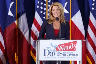 State Sen. Wendy Davis announces her campaign for governor in front of a crowd of supporters in Haltom City on Oct. 3, 2013.
