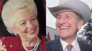 Ann Richards (l) on the campaign trail in 1988 and Clayton Williams during the campaign in 1990