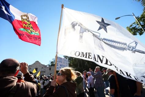 """Come and Take It San Antonio!"" gun rights rally at The Alamo, San Antonio, Oct. 19, 2013."
