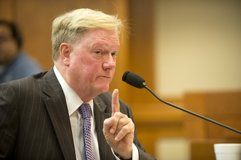 State Rep. Jim Pitts, R-Waxahachie, testifies at the House Select Committee on Transparency in State Operations regarding UT Regent Wallace Hall on October 22, 2013.
