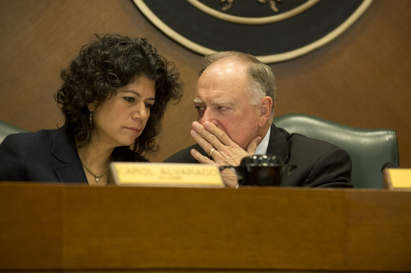 House Committee on Transparency in State Agency Operations co-chairs Rep. Carol Alvarado, D-Houston, and Rep. Dan Flynn, R-Canton, during a hearing on Oct. 22, 2013.
