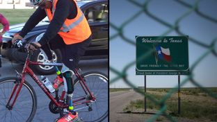 "Carlos Gutierrez, who lives in exile in Texas, embarks on the first segment of his ""Pedaling for Justice"" bike trek that ends in Austin next month."