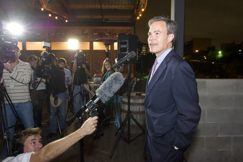 House Speaker Joe Straus at the Rattle Inn in Austin celebrating the passage of Proposition 6 on Nov. 5, 2013.