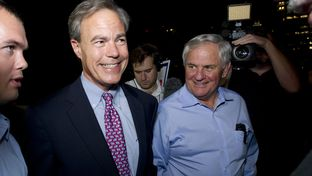 House Speaker Joe Straus and state Rep. Jimmie Don Aycock celebrate the passage of Proposition 6 on Nov. 5, 2013.