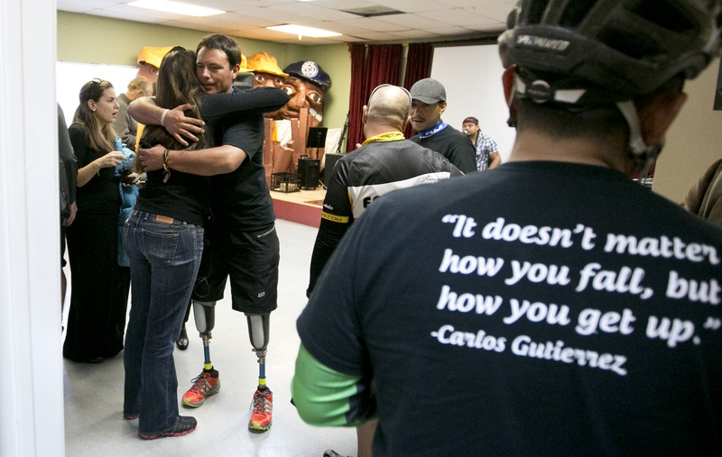 Gutierrez accepts a hug after completing his 12-day ride across Texas. Those who rode with him say the ripple effects of the ride have sparked hope across the state for others facing a variety of challenges.