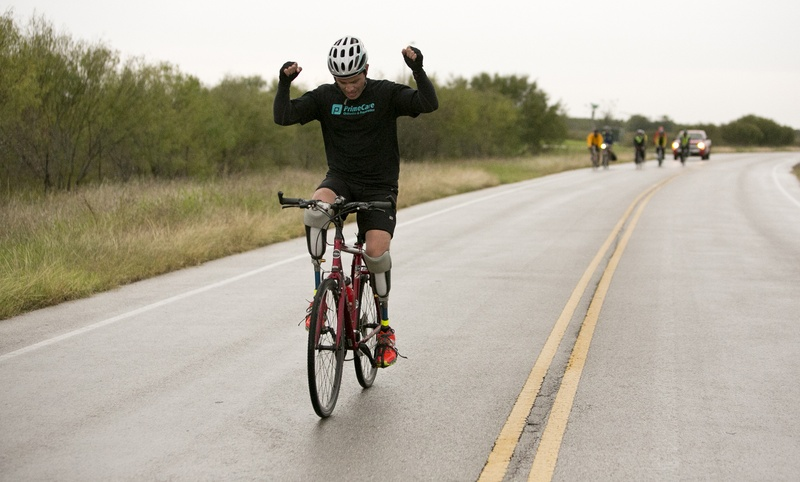 Gutierrez celebrates as he nears the end of his ride across Texas. He said he wanted to do something inspiring as he waited for a decision on his asylum request.