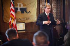 State Rep. Dan Branch, who is running for Attorney General,  speaks to the Pachyderm Club in Houston Thursday Nov. 14, 2013.