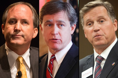 GOP attorney general candidates from left to right: Ken Paxton, Dan Branch, Barry Smitherman.