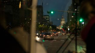 View from one of Capital Metro's 1M northbound busses at the intersection of 4th and Congress in Austin.
