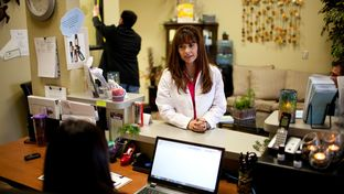 Nurse practitioner Christina Blanco speaks to the office manager at her medical spa and clinic in Las Cruces, N.M. on Saturday, Nov. 23, 2013. The spa and clinic was previously in El Paso for several years, but moved to Las Cruces in October and currently has six employees.
