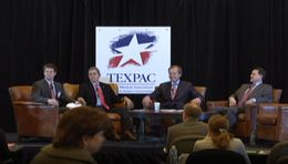 Candidates for Lt. Gov. during TEXPAC forum.