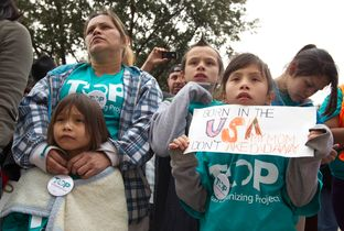 Rally for Immigration Reform walked up Congress Ave. towards the Texas Capitol on February 22nd, 2013