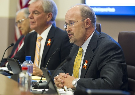 TXDOT chief Phil Wilson at an Aug. 29, 2013 board meeting in Austin. Wilson has been tapped to lead the Lower Colorado River Authority.