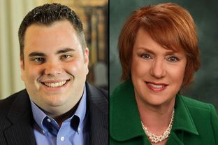 Rep. Jonathan Stickland, R-Bedford, left, and Rep. Diane Patrick, R-Arlington.