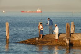 Fishing off the Texas City Dike in Texas City on Jan. 11, 2014. People often catch spotted trout, among other fish.