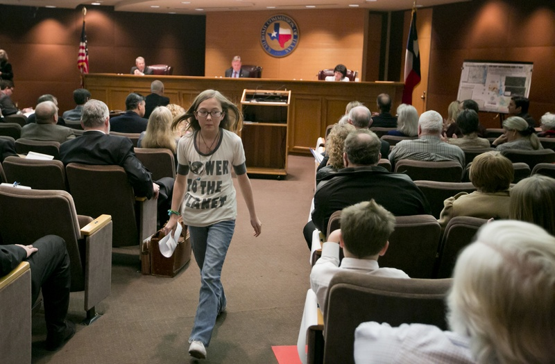 Kaylen Holmesly, a 7th grade resident of Azle, Texas, testifies before the Texas Railroad Commission and voiced her concern about an increased number of earthquakes around Eagle Mountain Lake on January 21st, 2014.