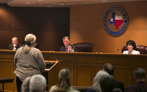 Lynda Stokes, the mayor of Reno, Texas, testified before the Texas Railroad Commission on Jan. 21, 2014, about her concerns with an increased number of earthquakes around Eagle Mountain Lake.
