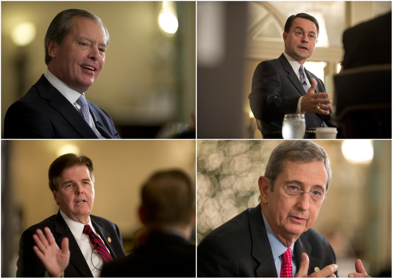 Clockwise, the four GOP Candidates for Lt. Gov.: incumbent David Dewhurst, Agricultural Commissioner Todd Staples; Land Commissioner Jerry Patterson; and state Sen. Dan Patrick, R-Houston.