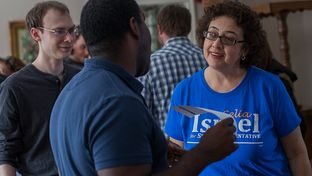 Democrat Celia Israel, a candidate for Texas House District 50 in Austin, speaks to supporters at a Battleground Texas rally at a supporter's house on Saturday, Jan. 25. Israel won a special election runoff on Tuesday, Jan. 28, to serve the remainder of former Rep. Mark Strama's term, and she will seek a full term in November.