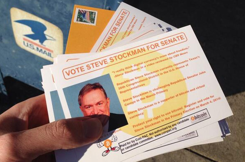 A campaign mailer from Coin PAC in support of U.S. Rep. Steve Stockman's bid for U.S. Senate. The political action committee favors candidates that support the digital currency Bitcoin.