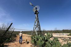 Hugh Fitzsimons surveys the old windmill that pumps at two gallons a minute to fill the pila that then feeds the water trough for his bison and wildlife at SHAPE Ranch in Carrizo Springs, TX, February, 21, 2013.