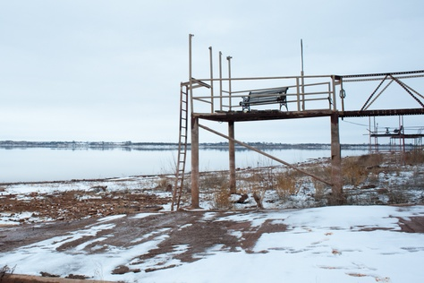 Docks on the edge of Lake Kickapoo, which is less than one-third full, no longer reach the water in Holiday, Feb 3, 2014.