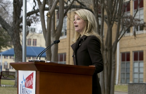 Sen. Wendy Davis D-Ft.Worth, speaks to media at ACC Rio Grande Campus on February 10th, 2014