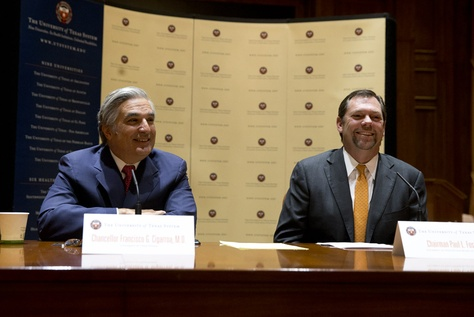 UT System Chancellor Francisco Cigarroa (left) and UT Board of Regents Chairman Paul L. Foster are shown at the announcement of Cigarroa's resignation on Feb. 10, 2014.