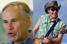 Republican candidate for governor Greg Abbott and rock musician Ted Nugent.