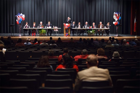 Most of the 12 candidates for CD-36 seated on stage during a Republican candidates forum sponsored by the Hardin County Republic Women in Silsbee, Texas, Monday Feb. 17, 2014.