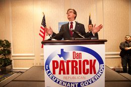 State Sen. Dan Patrick, R-Houston, speaks to supporters in Houston after primary election results indicate he is heading into a runoff with Lt. Gov. David Dewhurst.