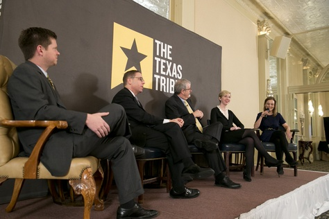 Texas Tribune staffers dissect Tuesday's primary election results at Triblive on March 5, 2014. Left to right are Reeve Hamilton, Evan Smith, Ross Ramsey, Emily Ramshaw and Morgan Smith.