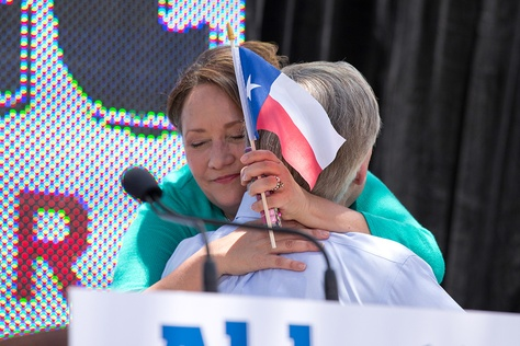 Cecelia Abbott hugs her husband, Attorney General Greg Abbott after he announces his plans to run for governor of Texas during a campaign event at LaVillita in San Antonio.