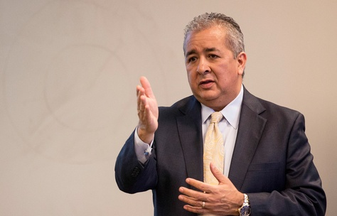 San Antonio Water System President and CEO Robert Puente speaks at the SAWS headquarters in San Antonio.