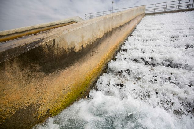 A cascade aerator on the site of the Twin Oaks Valley Water Treatment Plant outside of San Antonio, where the San Antonio Water System maintains an underground storage reservoir.