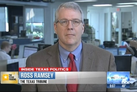 "Texas Tribune Executive Editor Ross Ramsey on WFAA-TV's ""Inside Texas Politics"" on April 6, 2014."