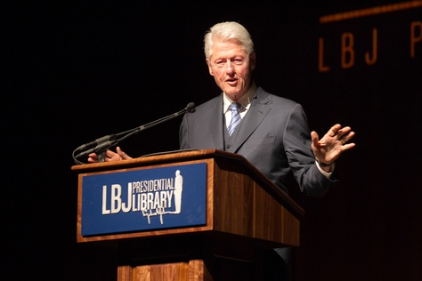 Former President Bill Clinton addresses the audience during the Civil Rights Summit at the LBJ Presidential Library on the University of Texas campus in Austin on April 9, 2014.  Deborah Cannon / Austin American Statesman