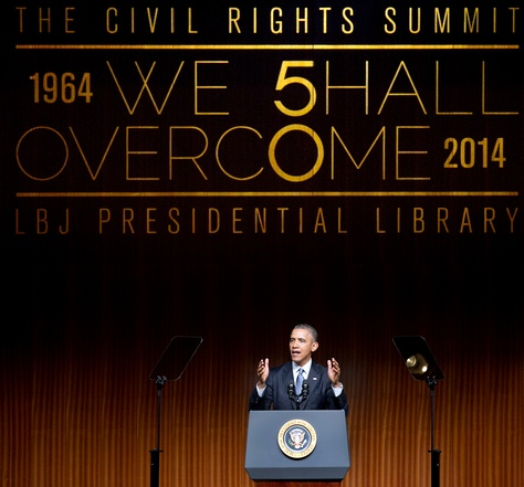 President Obama spoke at the Civil Rights Summit on the University of Texas at Austin campus on Thursday, April 10, 2014.  Laura Skelding / Austin American Statesman