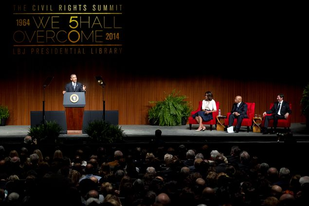 President Obama spoke at the Civil Rights Summit on the University of Texas at Austin campus on Thursday, April 10, 2014. 
